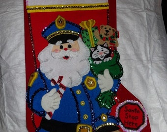 Handmade finished Policeman Santa & dog 16 inch Christmas stocking - fsk24
