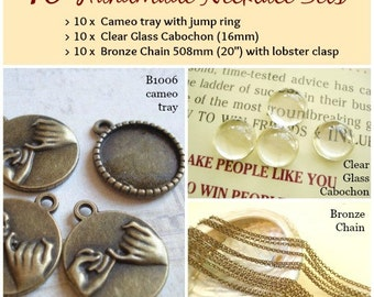 10 Handmade Photo Cabochon Necklace Kit Sets -18mm Cameo Tray - Cabochon - 508mm Length Bronze Neclace B-1006(k)