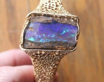 Vintage 70's Handmade Custom Australian Boulder Opal 14K Gold Sea Sponge Bracelet