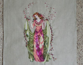 Forest Goddess Cross-Stitched Picture