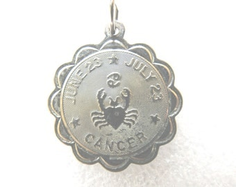 Zodiac Cancer Sterling Silver Coin Charm