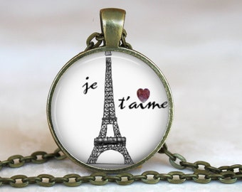 Je T'aime..I love you in French..Eiffel Tower..Paris..Glass Pendant, Necklace or Key Ring