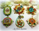 Graphic 45 Bohemian Bazaar Handmade Paper Embellishments and Paper Flowers for Scrapbook Layouts Cards Mini Albums Tags and Paper Crafts