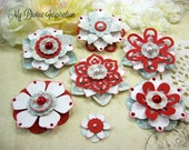 Authentique Fresh Red White and Light Blue Handmade Paper Embellishments, Paper Flowers for Scrapbooking Cards Mini Albums and Papercrafts