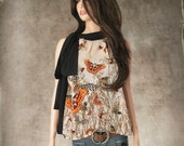 Top neck scarf/butterfly blouse/botanical bow shirt