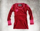 Red pink top heart/long sleeve gray red/lovers top