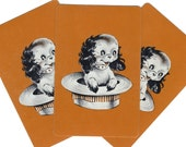 PUPPY in a HAT (3) Vintage Single Swap Playing Cards Paper Ephemera Scrapbooking