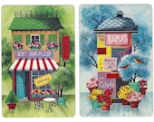 SPRINGTIME IN PARIS (2) Vintage Single Swap Playing Cards Paper Ephemera Scrapbook
