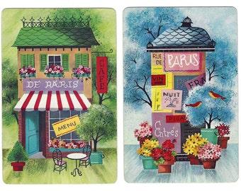 SPRINGTIME IN PARIS (2) Vintage Single Swap Playing Cards Paper Ephemera Scrapbook