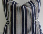 Navy blue stripe designer nautical throw pillow cover, Decorative lumbar square copper blue throw pillow, soft woven cotton blend both sides