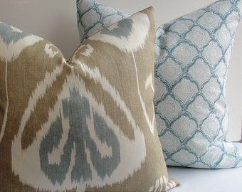 Decorative pillow cover by Kravet-Bansuri Bramble-both sides or front only-designer throw pillow-khaki- taupe-aqua blue-