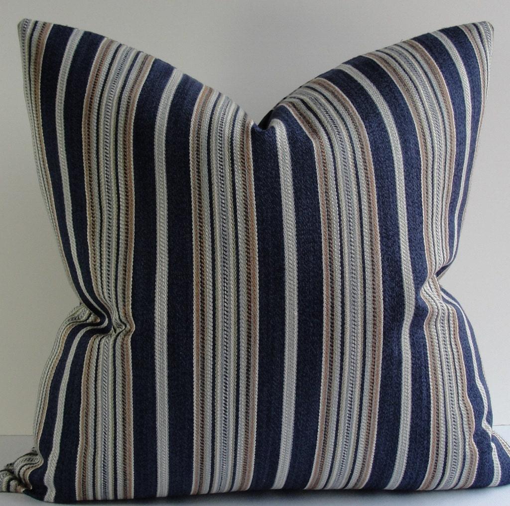 Navy blue stripe designer nautical throw pillow cover