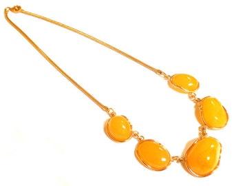 """Baltic Amber Chain Choker Butterscotch Gold Plated Yolk Natural 18.7"""" 31.9 .gram 925 Silver"""