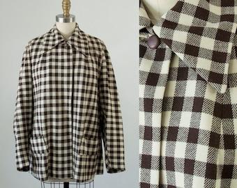 1940s Vintage Checkered Wool Swing Coat. Bellciano Jacket (S)