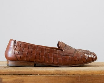 1980s Vintage Woven Leather Penny Loafers Joan & David Handmade in Italy (size 6 1/2)
