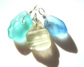 Pastel Aqua, White and Light Blue Seaham Sea Glass cluster pendant - optional chains - E1576 - from  UK