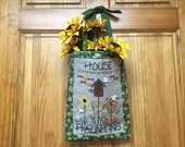 Halloween, Door Decor, Hand Embroidered, Completed Cross Stitch, Ghost, Birdhouses