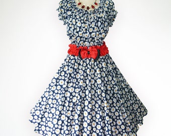 Baby Doll Top Blue Adorable Daisy Floral 50s Pin up Rockabilly Full Swing Party Prom Dress Plus Size 24 26 28
