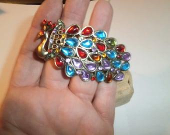Costume Jewelry, Rhine Stone, Peacock Bango Bracelet, circa 1990's