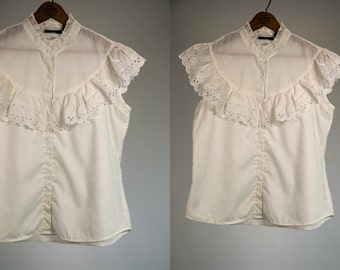 Vintage Vtg 1970's 1980's Fritzi White Cotton Flouncy Blouse with Ruffles Country Chic Feminine Summer Top Button Up Sleeveless Women's Med