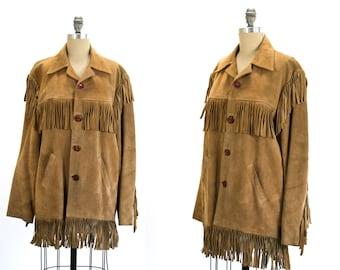 Vintage 1970's Steer Brand Fringe Leather Jacket Unisex Women's Large Men's Medium Large Hippie/Retro/Boho
