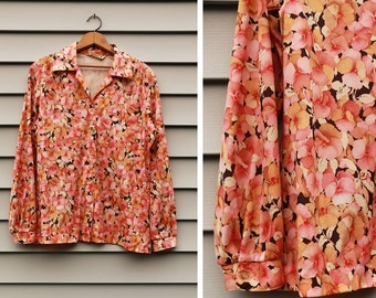Vintage VTG VG 1960's 60's 1970's 70's Polyester Flower Print Retro Long Sleeved Blouse Top Button Up Women's Hipster Koret of California