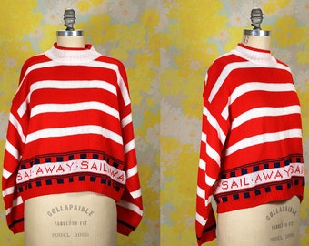 Vintage Vtg Vg 1980's 80's SAIL AWAY Red and White Striped Crew Neck Sweater Hipster Retro Candy Cane Striped Kitsch Women's Small Medium