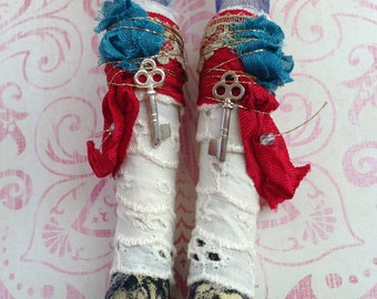 Gypsy boots shoes fit for Blythe or Licca doll ~~ Vintage Lace wrapped boots ~~ KEY Mori Boho
