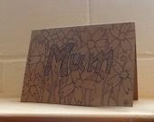 Mum Birthday Card, Greetings Cardwith flowers , Original Hand Drawn Card