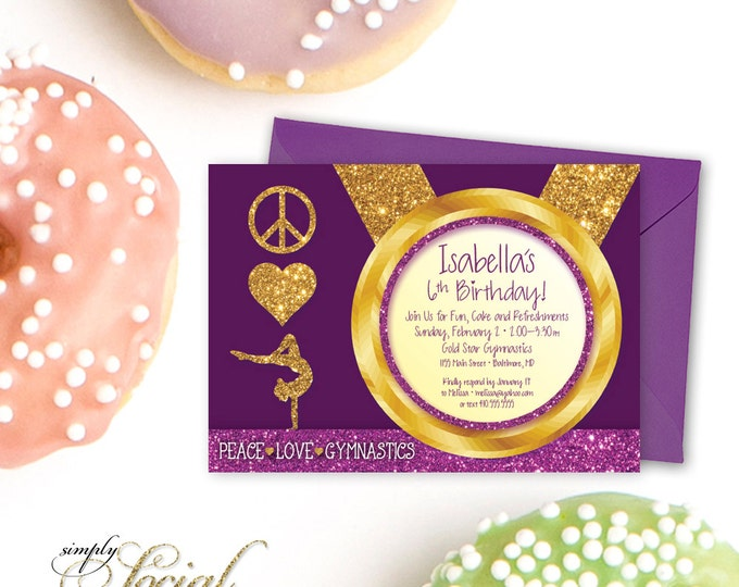 Gymnastics Birthday Party Invitation - Plum Purple Kid's Peace Love with Glitter Printable