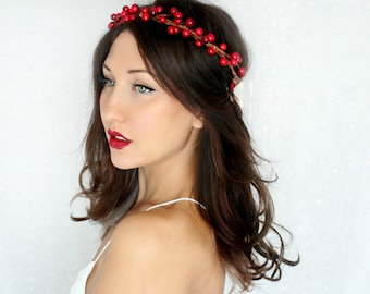 SALE Holiday Headband, red berries, flower Crown, Christmas, Winter Headpiece, Holiday accessory, holiday floral crown, christmas Wedding,