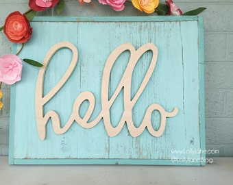 skinny hello | Word Art Wood Cutout Typography Wood Sign