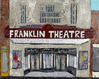 """Franklin Theatre canvas, painting, abstract art, 3/4"""" thick canvas print"""