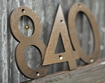 Weathered Copper - Powder Coated Aluminum Numbers with matching screws