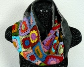Christmas Scarf Handmade Snood Knit , Mothers Day Gift , Crocheted Flowers on Polar Fleece Cloth Christmas Gift, granny squares
