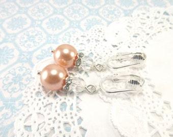 Peach Pearl Earrings. Clip Earrings. Swarovski Peach. Bridal Earrings. Wedding Jewelry. Simple Bridal.  Bridesmaid Earrings