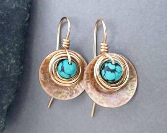 Genuine Turquoise Drop Earrings Bronze 14k Gold Filled Small Earrings Artisan Modern Rustic Mixed Metal Jewelry December Birthstone