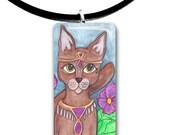 Absynnian, Tabby cat, Fantasy art glass tile pendant, tan, brown, fantasy cat, big eyes