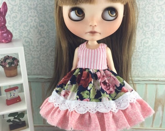 Blythe Shabby Chic Dress - Roses and Stripes