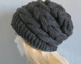 Womens Slouchy Knit Hat Beanie Women Hat Knit Hat Beanie Beanie Slouchy Beanie Women Knit Hat Hand Knit Hat Charcoal Grey Hat Recyclingroom