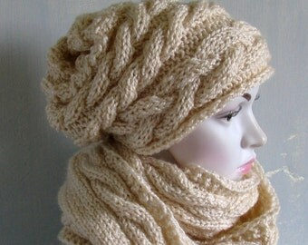 SCARF & HAT SET Scarf Chunky Knit Scarf Winter Shawl Long Scarf Stocking Stuffer Perfect Gift Knit Beanie Hat Slouchy Hat Cowl Knit