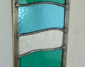 Stained Glass Garden Ornament Architectural Panel Small in Ocean Wave Design Teal, Turquoise and Transparent MTO