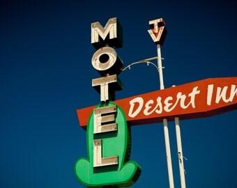 Desert Inn Neon Motel Sign Print | Cactus Art Print | Retro Wall Art