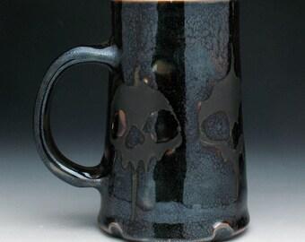 Dark Skulls Beer Stein, Bronze & Metallic Black Skulls Tankard