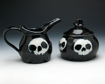 Skull Creamer & Sugar Bowl Set in Black and White Glaze