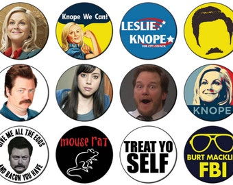 Parks and Recreation Button badge 25mm / 1 inch Ron Swanson Leslie Knope