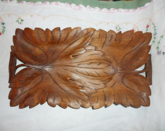 Antique Carved Wood Leaves Tray