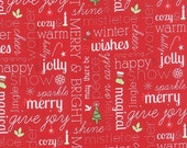 ON SALE Moda Fabric JINGLE Kate Spain 1/2 Yard Winter Wishes Red White Words 27213-11