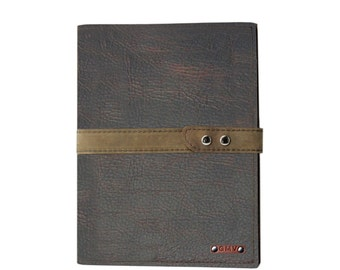 Large Executive Padfolio in Chocolate Buffalo Leather  with Distressed Strap Made in the U.S.A. - EX-BUDISSTRP-PDF
