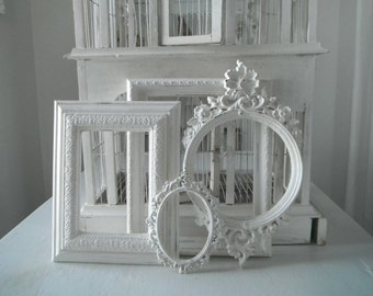 distressed PICTURE FRAMES open gallery frames shabby chic white painted frames wedding decor photo prop nursery decor french country aged